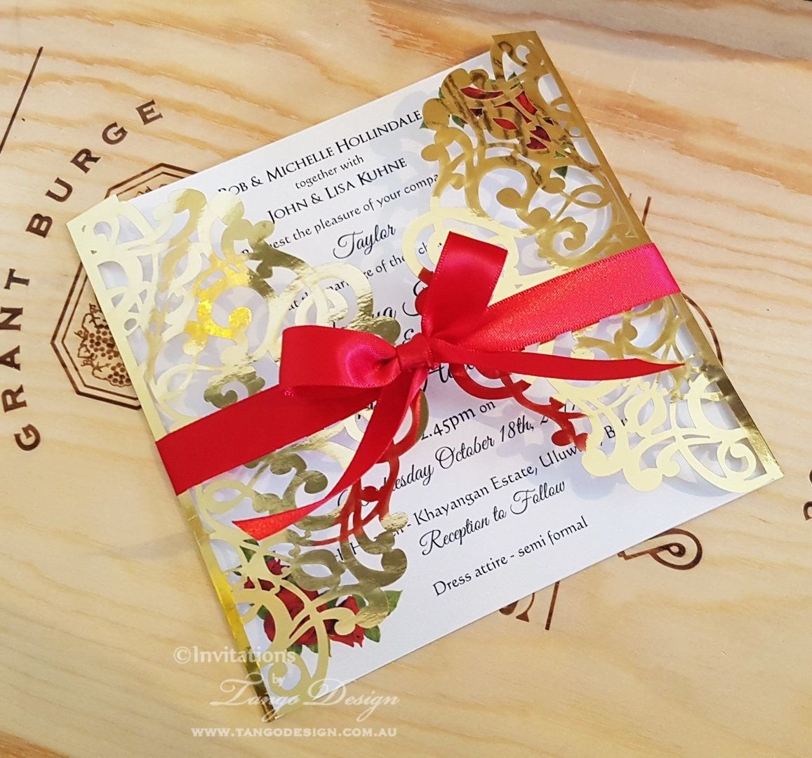 Beauty and the Beast wedding Invitation | Gold Mirror Foil Invite ...