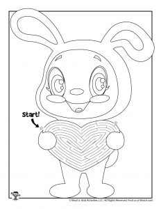 Easter Bunny Heart Maze Puzzle for Kids in 2020 | Mazes ...