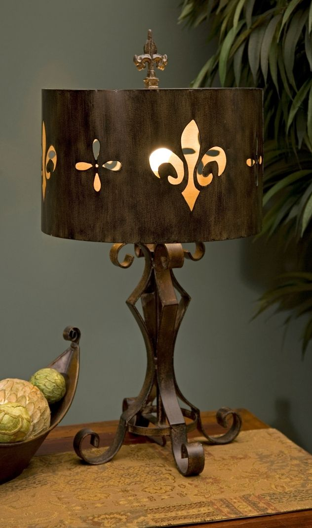 Fleur De Lis Cutwork Table Lamp