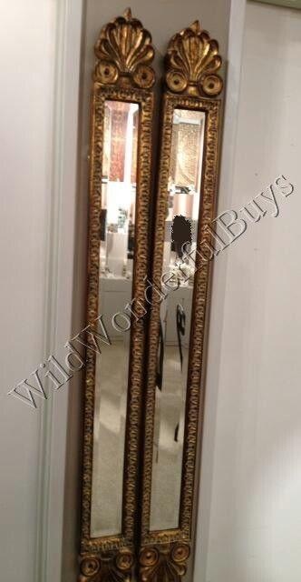 Set 2 Narrow Baroque Wall Mirrors Antique Gold 60 H Accent Patina