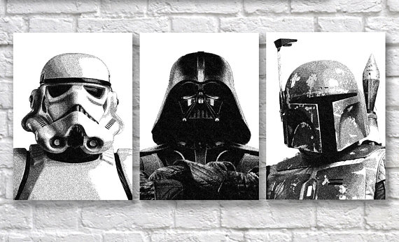 Star Wars Poster Set of 3 - Boba Fett, Darth Vader and Stormtrooper Dotwork Art Prints Currently in A6, A4, A3, 5x7 inches, 8x10 inches and as a Greeting Card. Perfect Gift for a Sitting Room or for any Room Decor.   Quality and Details  Paper:  #ad