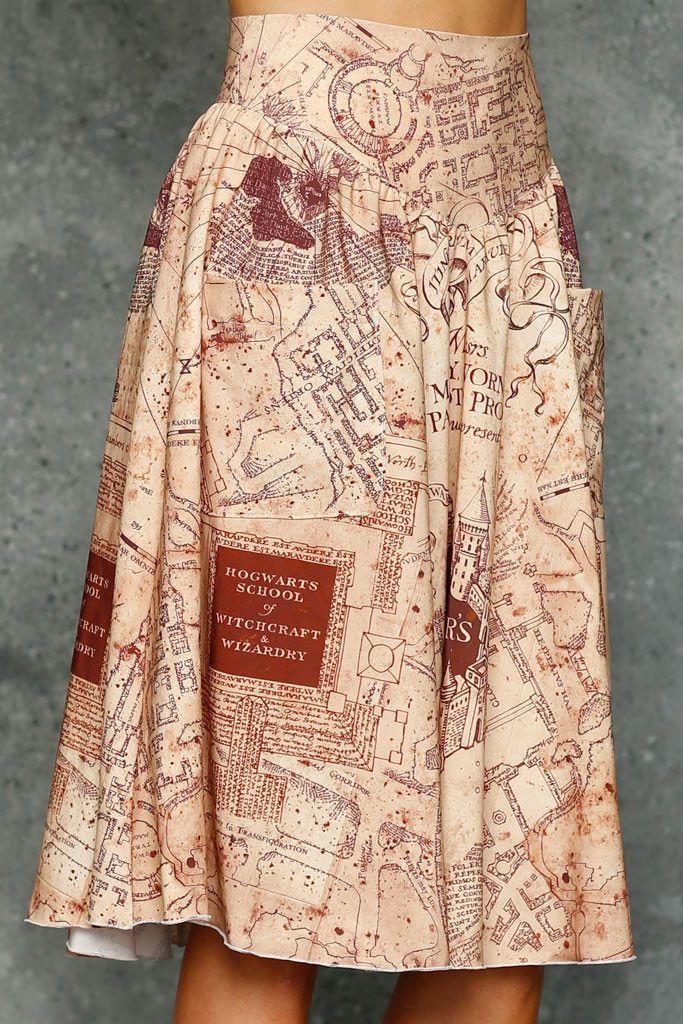 Marauder Map A-Line Skirt