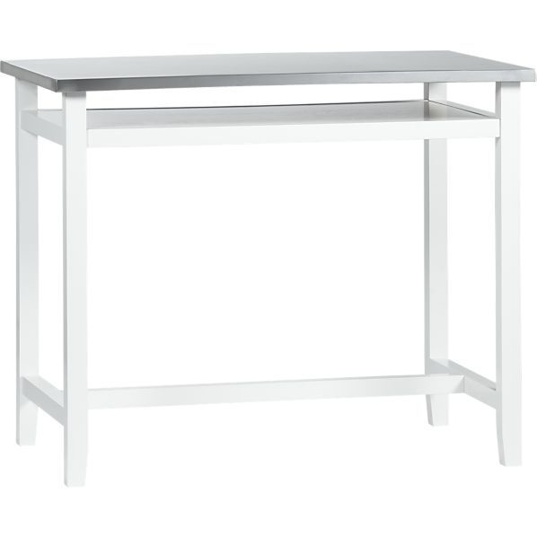 Belmont White Work Table With Stainless Steel Top In Dining Kitchen Tables Crate And Barrel Dining Table In Kitchen Build A Table Home Decor