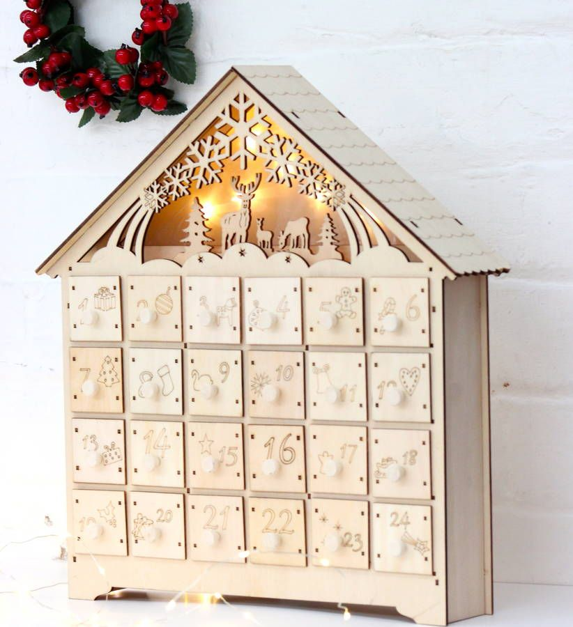 Wooden Led Lit Advent Calendar