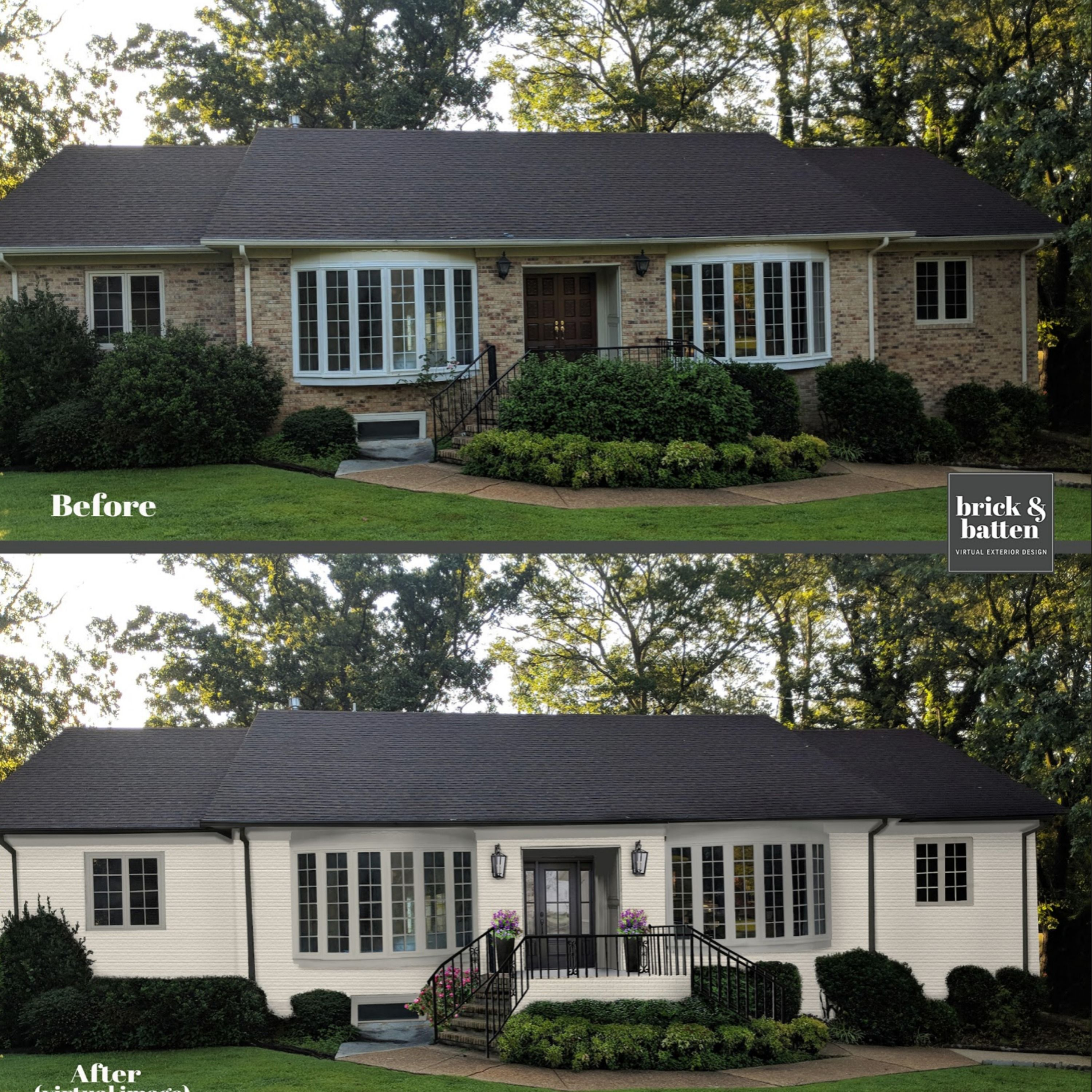 Ranch Homes Before After Makeover Blog Brick Batten Ranch House Exterior Ranch Style Homes Brick Ranch Houses