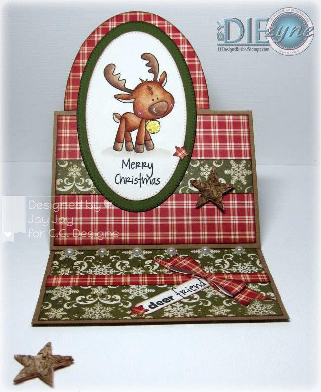 Animal Crackers Rodney, AmyR Stamps Winter Sentiments, C.C. Cutters Ribbon Die, byDIEzyne Half Oval Die & Pierced Ovals Die