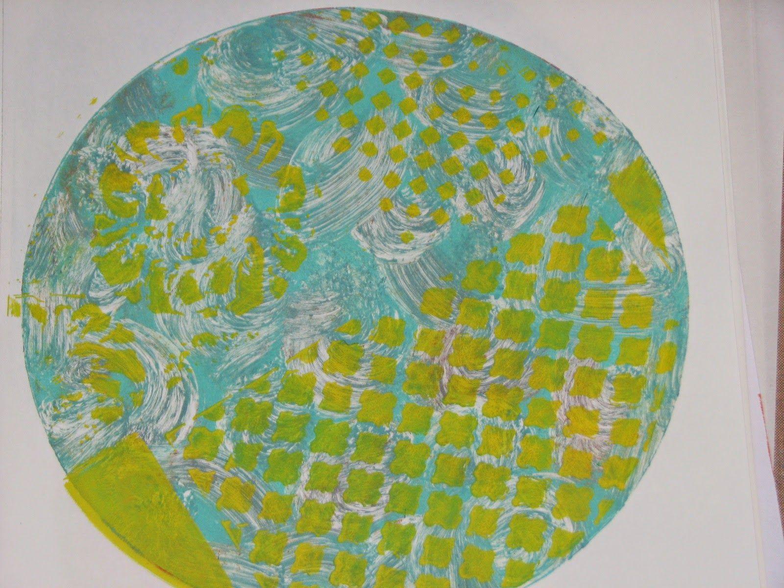 Dina Wakley Acrylics & Circle Gelli Plate Example 5