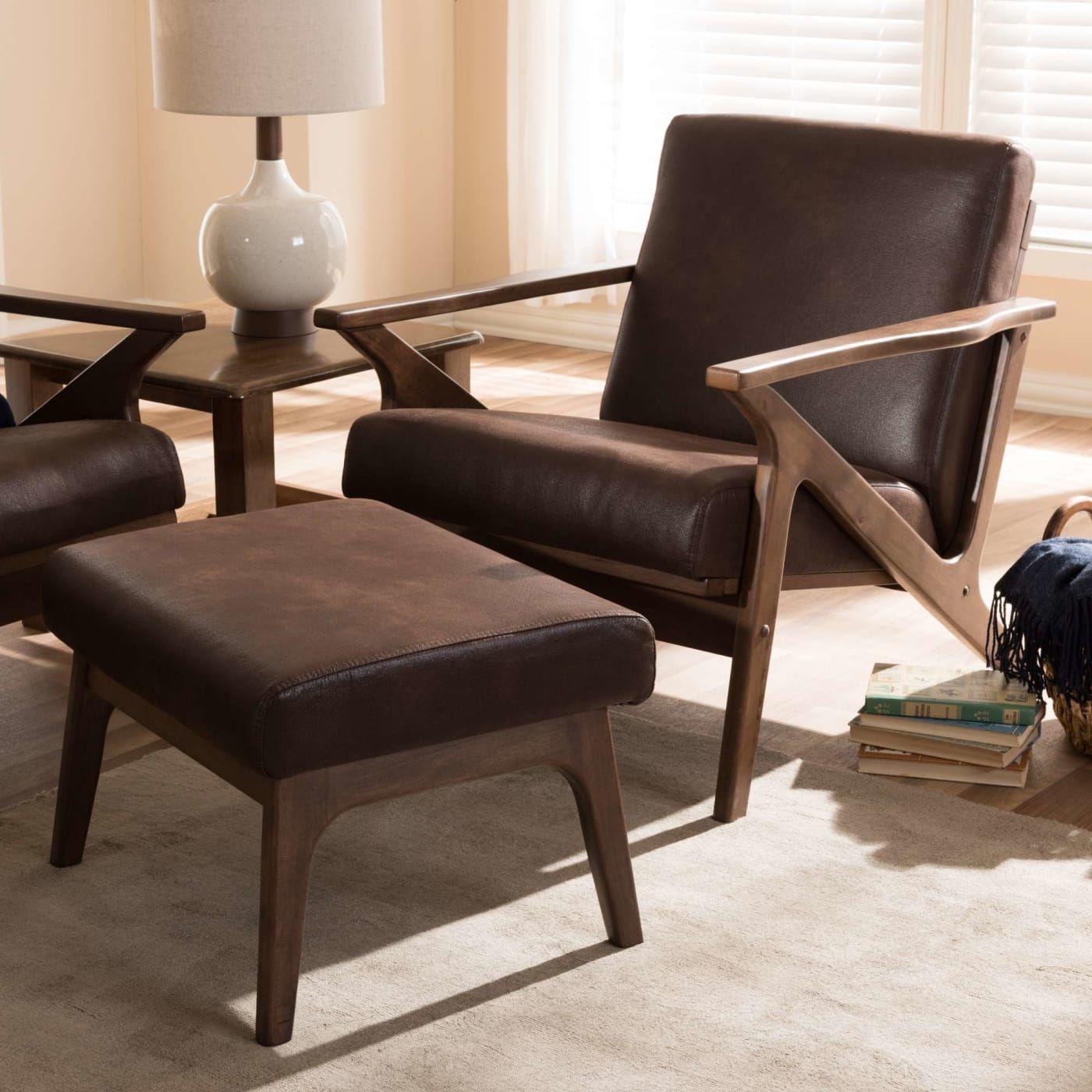 Baxton studio bianca dark brown midcentury modern