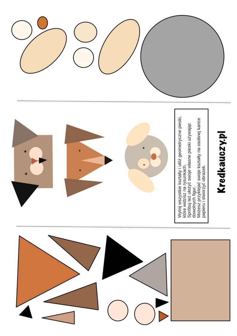 Https Www Kredkauczy Pl Wycinanki I Szablony Geometryczne Pieski Wycinanka Dla Dzieci Kreatywne Zabawy Activities For Kids Pie Chart Inspiration