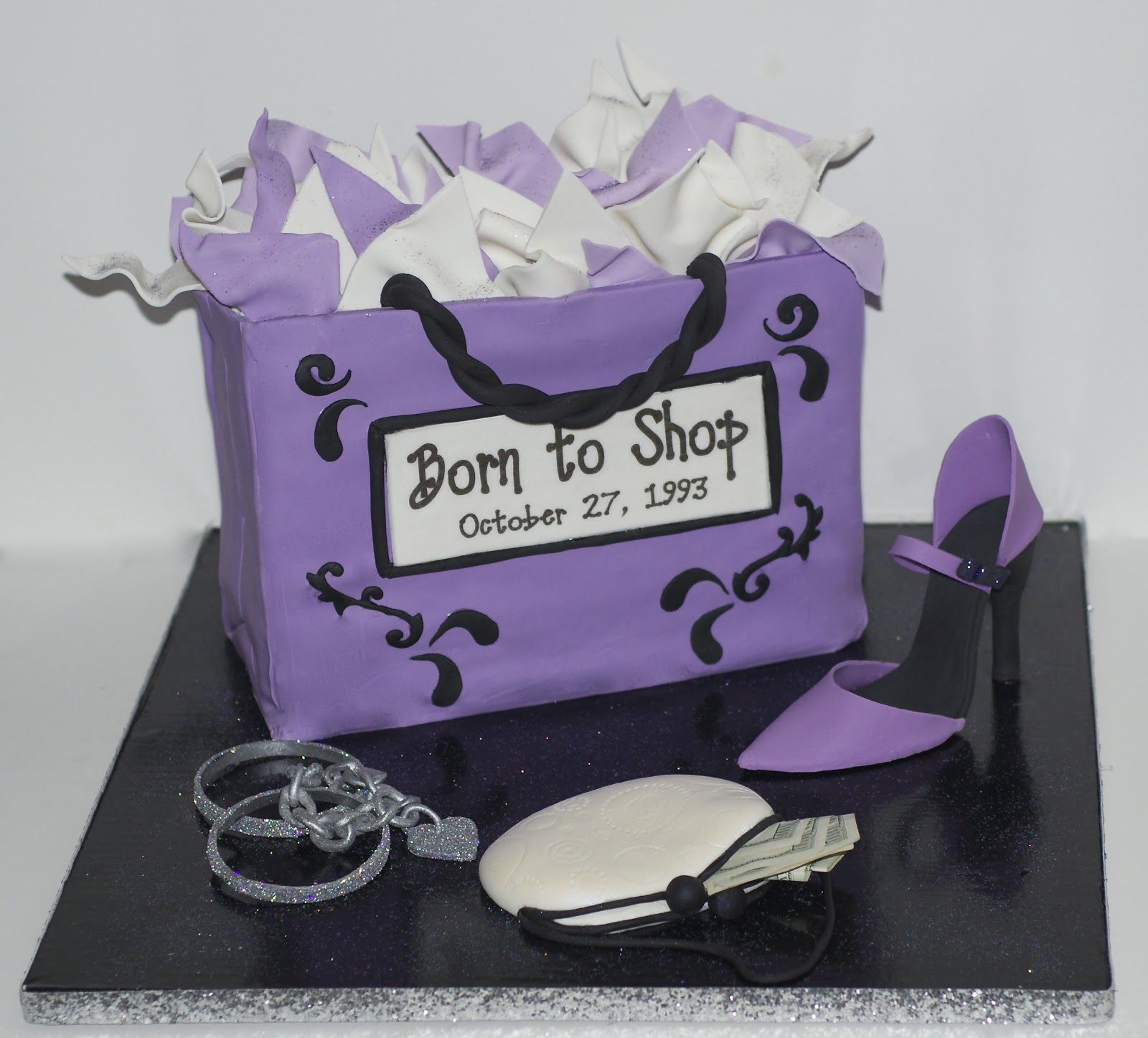 Shopping Bag Birthday Cake With Hand Sculpted Shoe Jewelry And