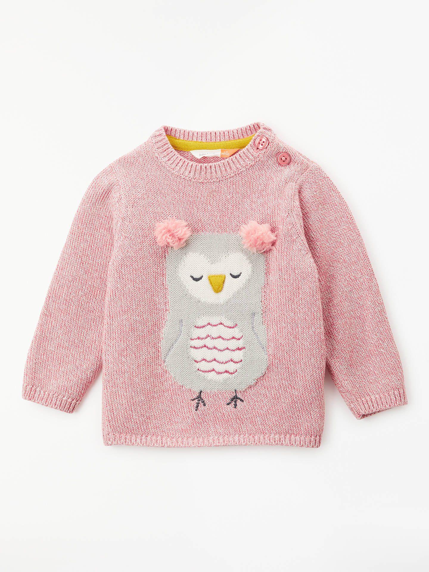 a1a1f7e29 BuyJohn Lewis & Partners Owl Face Jumper, Pink, 0-3 months Online