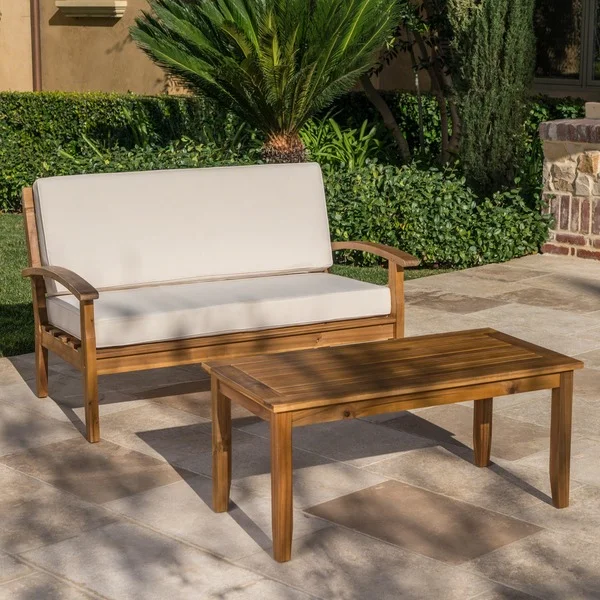 Shop Peyton Outdoor 2 Piece Acacia Wood Loveseat And Coffee Table Set By Christopher Knight Hom Teak Patio Furniture Pool Patio Furniture Small Patio Furniture