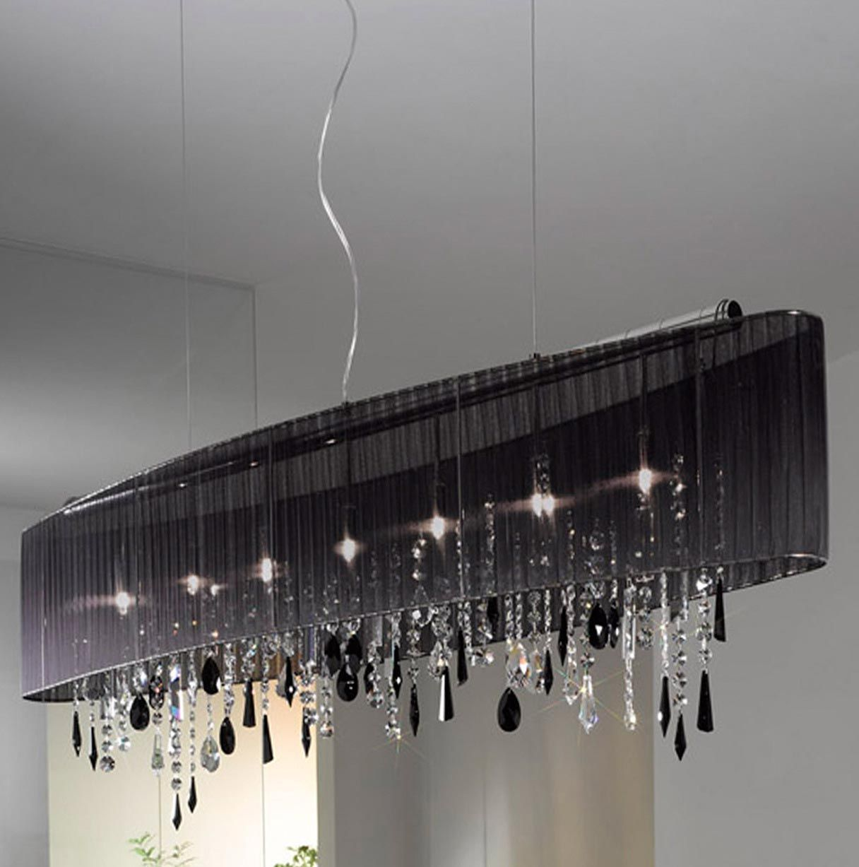 Rectangular Crystal Chandelier Black Shade Chandeliers Pinterest - Chandelier swarovski crystals wholesale