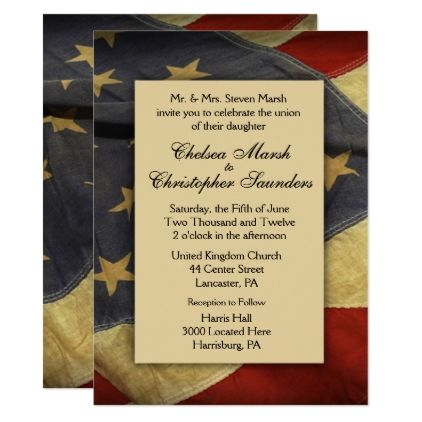 Distressed american flag wedding invitation wedding invitations distressed american flag wedding invitation wedding invitations cards custom invitation card design marriage party stopboris Image collections