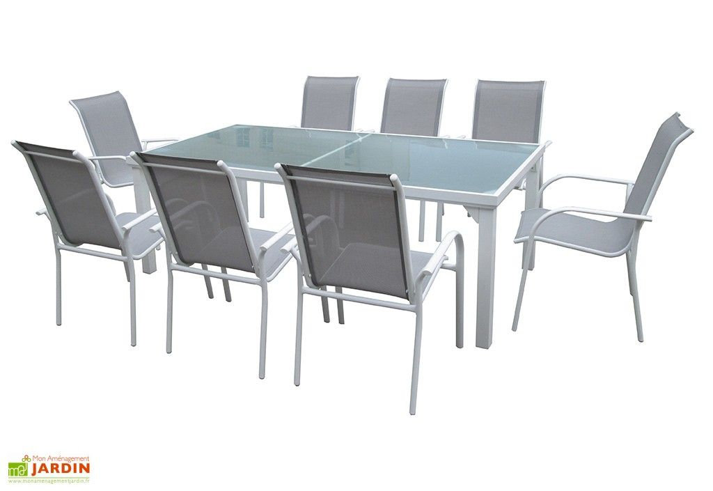 Salon de Jardin Whitesun : Table + 8 Fauteuils Blanc / Gris ...