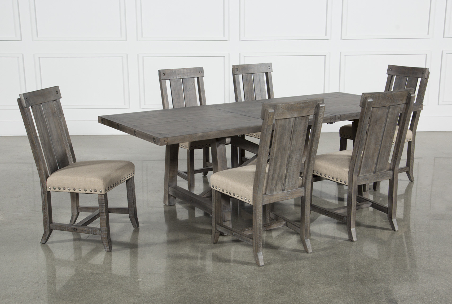 e84a813552 Jaxon Grey 7 Piece Rectangle Extension Dining Set W/Wood Chairs ...