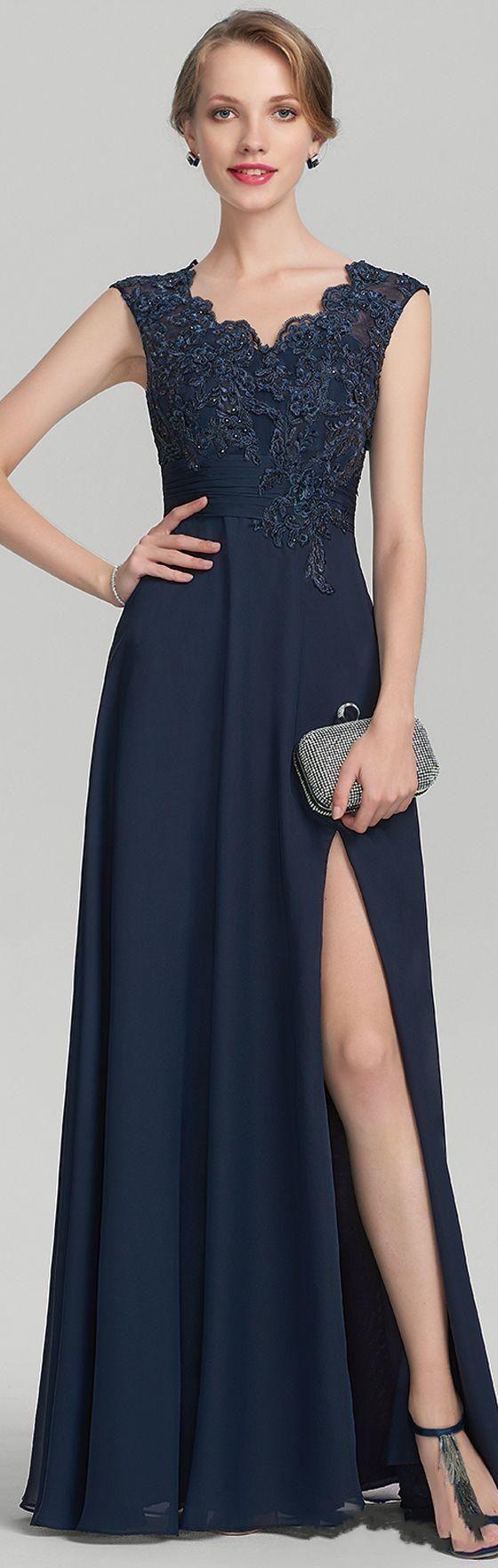 V neck navy blue lace mother of the bride dress plus size high slit