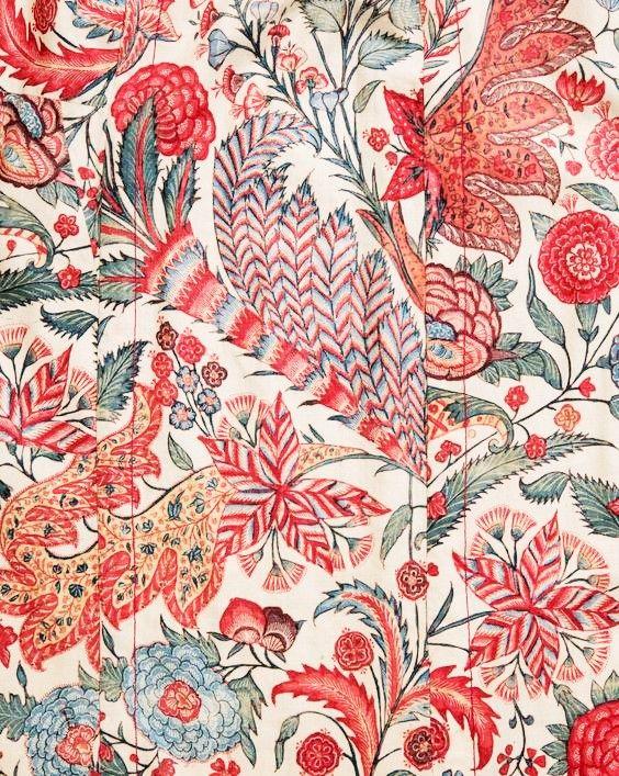 Exotic textile vintage antique floral graphism botanical indian cotton chintz fabric tissu - Tissu ameublement vintage ...