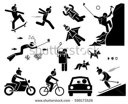 Action Camera Headset Man Using Action Camera Mounted On Helmet Stick Pole Bag Animals And Vehicl Assortment Of Stick Figures Vector Images Photo