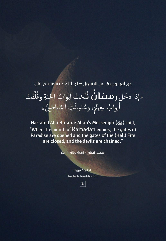 عن أبي هريرة عن الرسول صلى الله عليه وسلم قال إذا دخ ل رمضان ف ت ح ت أبواب الجنة وغ ل ق ت أبواب جهن Ramadan Quotes Quran Quotes Eid Greetings Quotes