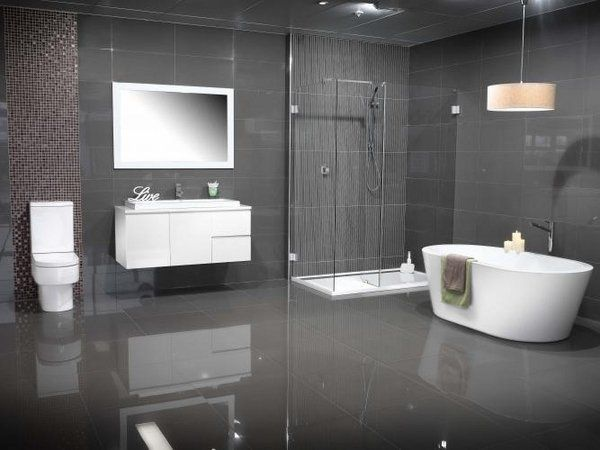 Modern bathroom colors grey tiles white floating vanity for Grey and white bathroom accessories