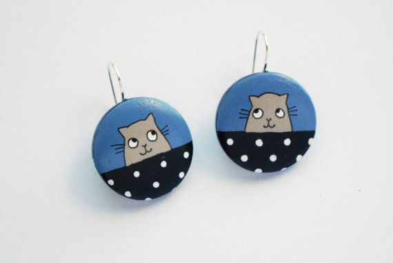 blue cat earrings hand painted wood by fineDollyLolly on Etsy
