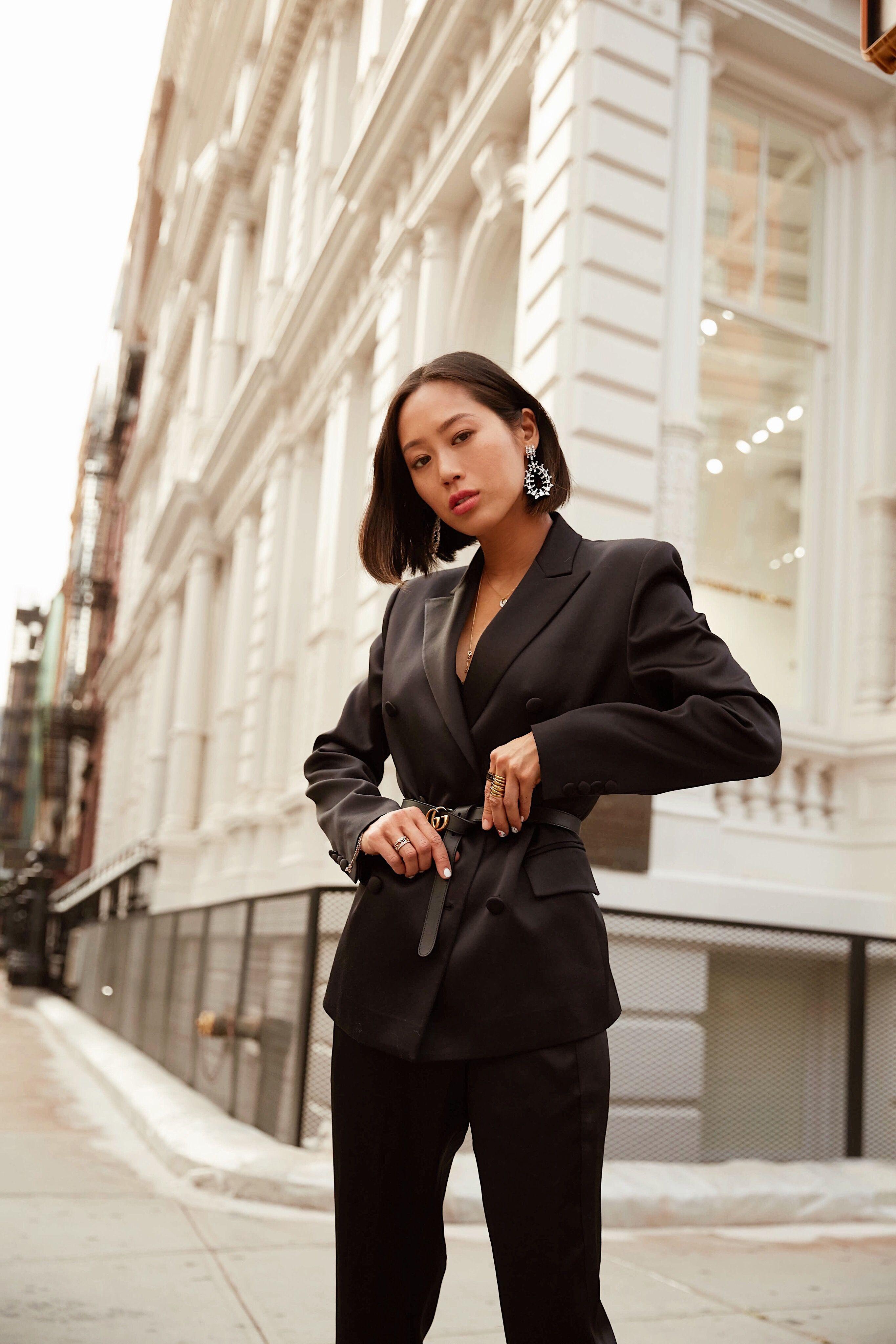 bca8f05c668f Black Blazer and Gucci Belt