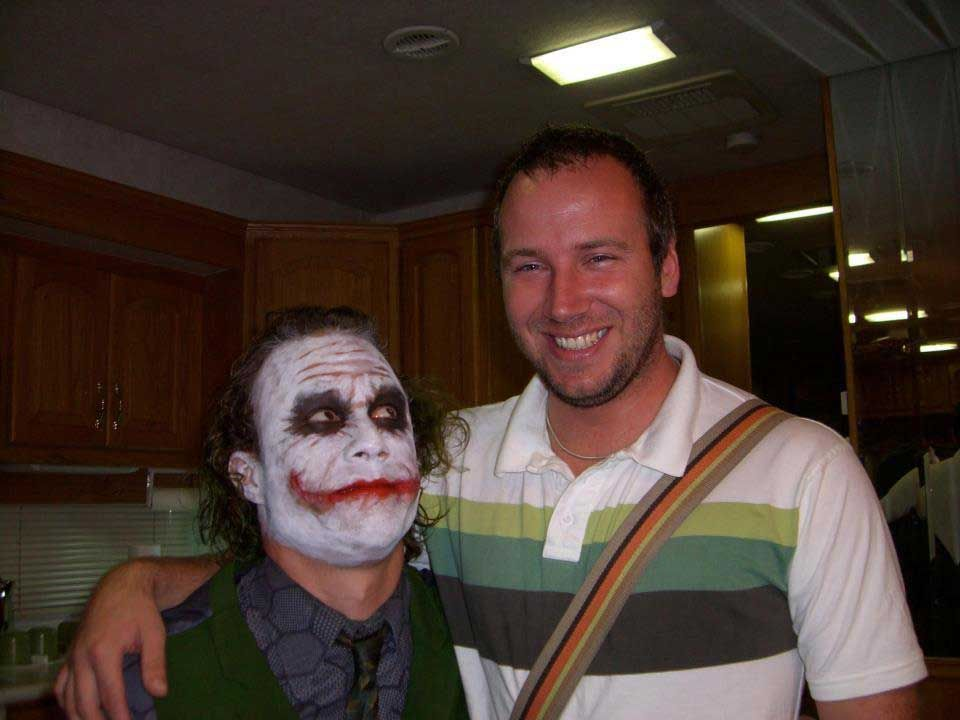Heath Ledger And His On Set Assistant Nathan Holmes During The