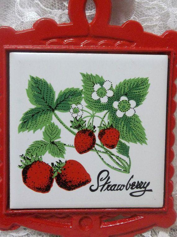 Strawberry tile vintage trivet kitchen decor gift for - Strawberry kitchen decorations ...