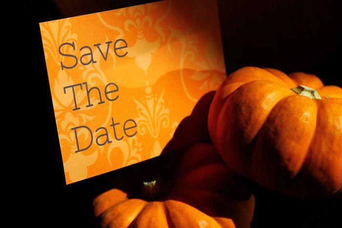 Orange Grey Damask Save The Date Design via WBD Designer – Halloween Wedding Save the Dates