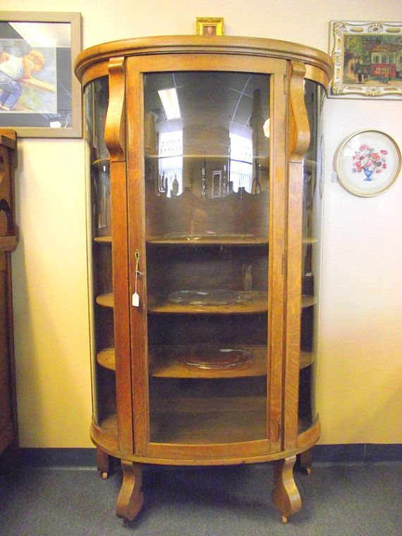 Antique Curved glass Bow Front Oak China Hutch Curio 5 shelf Cabinet with  Key - Reserved for Corey Baye - Antique Curved Glass Bow Front Oak China Hutch By OldMillVintage