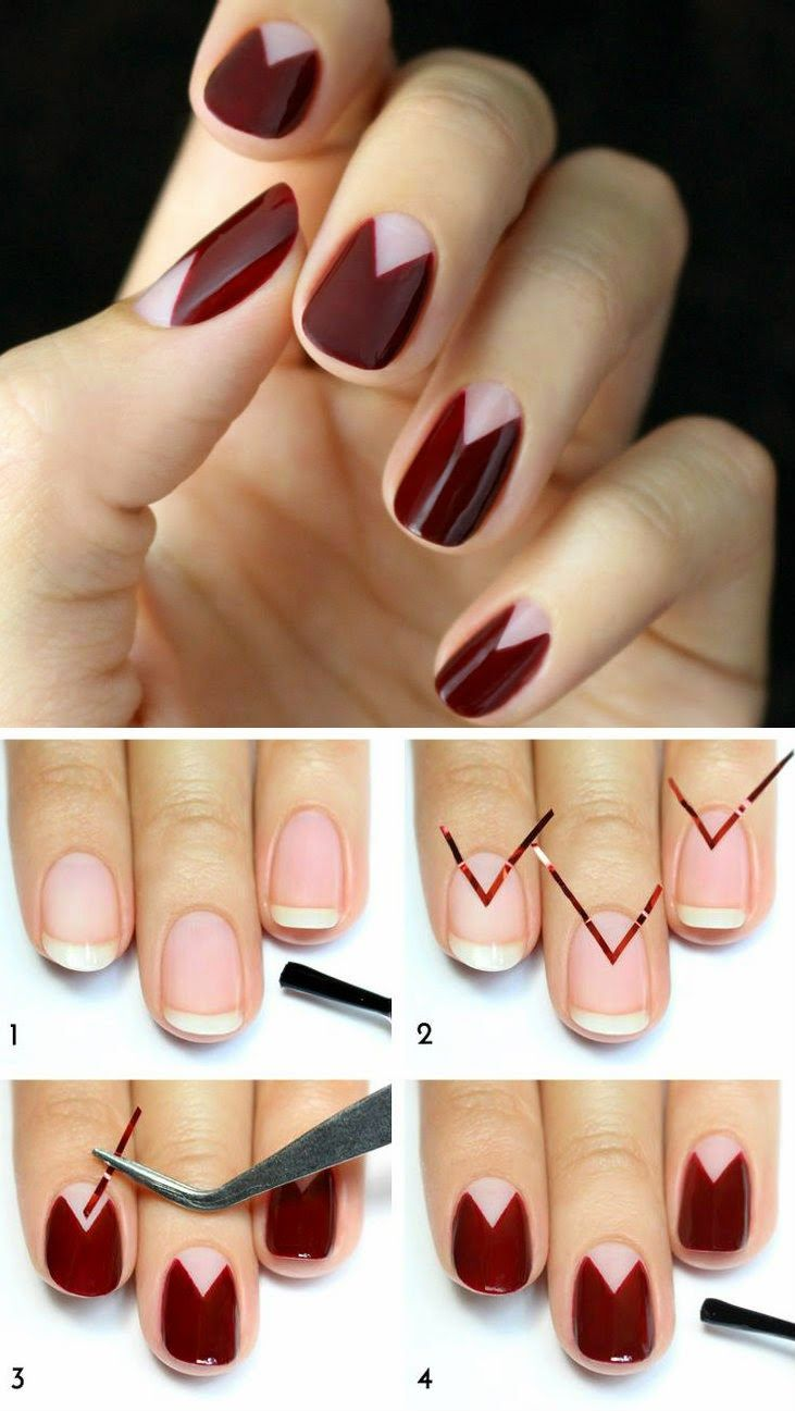 burgundy chevron moon nail