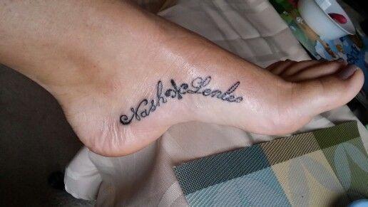 Inside foot arch tattoo of my children's names! Mine were ...
