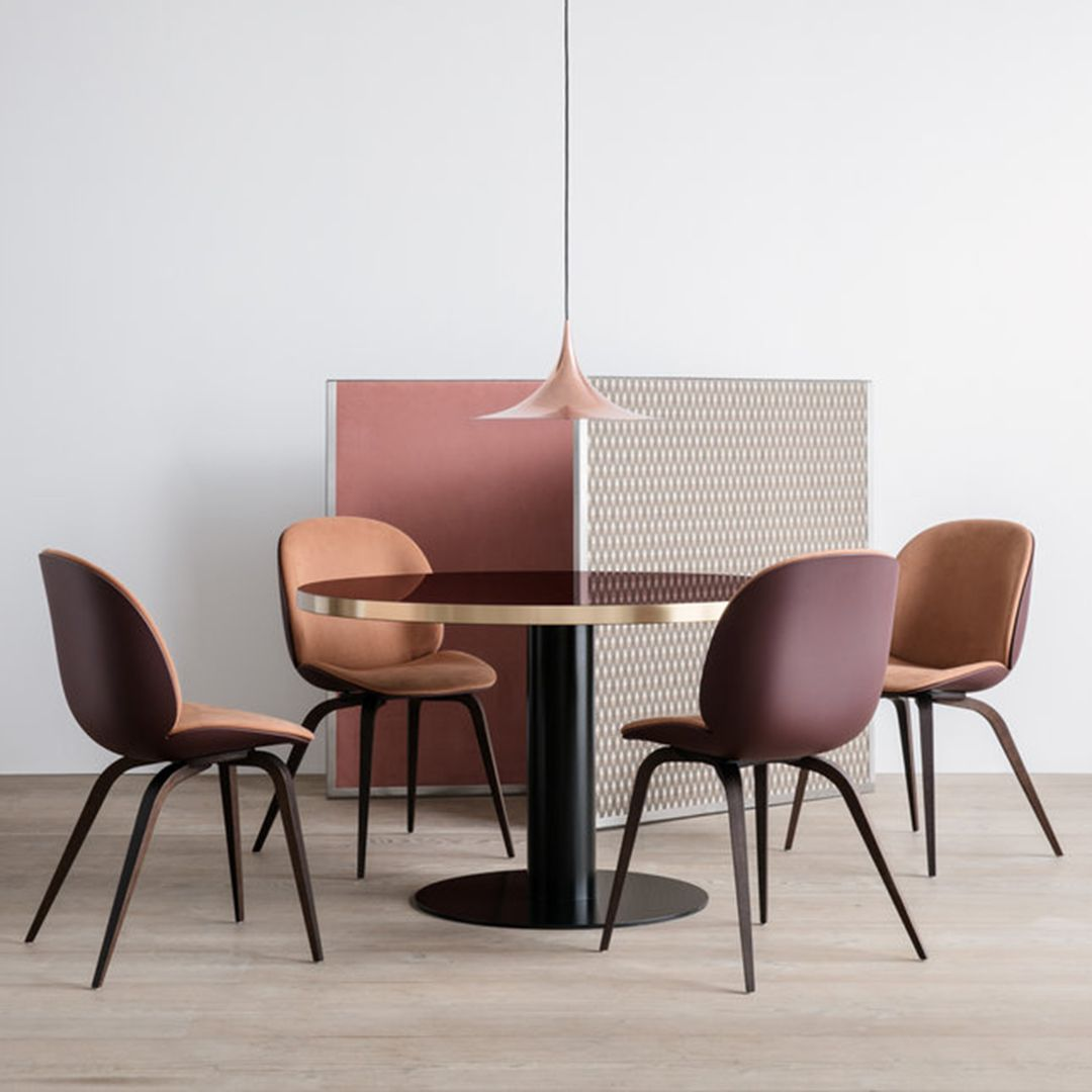 Gubi Beetle Chair Front Upholstered Wood Base The front