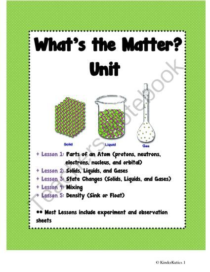 Whats the Matter? 3rd - 6th grade Science Unit Plan from