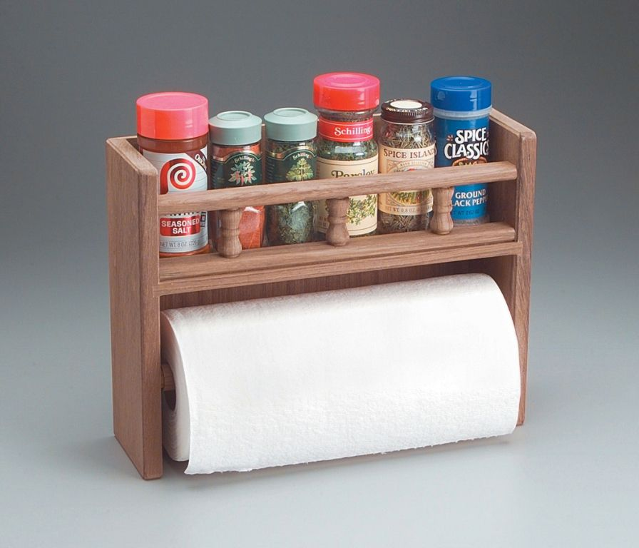 Woodworking Plans For Kitchen Spice Rack: Whitecap Paper Towel Rack W/spice Rack