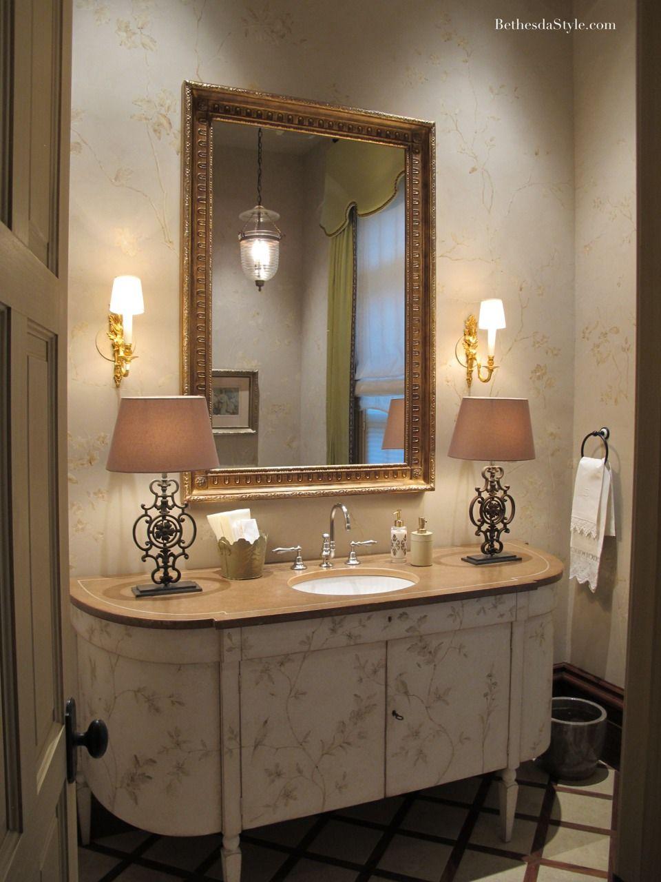 Bethesdastyle Powder Room Interior Designer Barry Dixon With Images Powder Room Decor Ladies Bathroom Powder Room