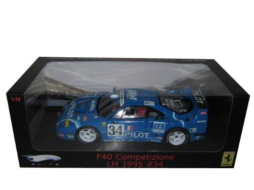1/18 Scale Hot Wheels Ferrari F40 COMPETIZIONE 24 HOURS OF LE MANS 1995 #34 (Elite Series) by Hot Wheels. $63.02. HOT65155 part number. # Superior interior/exterior and engine detailing with upholstered racing seat.  # Working steering. # All doors open including hood and rear engine cover. # Removable Engine Nose