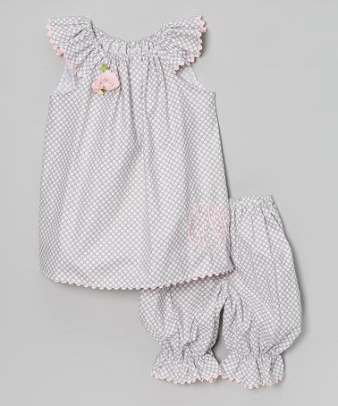 Another great find on #zulily! Gray Polka Dot Monogram Top & Bloomers - Infant & Toddler by Enchanted Everyday #zulilyfinds