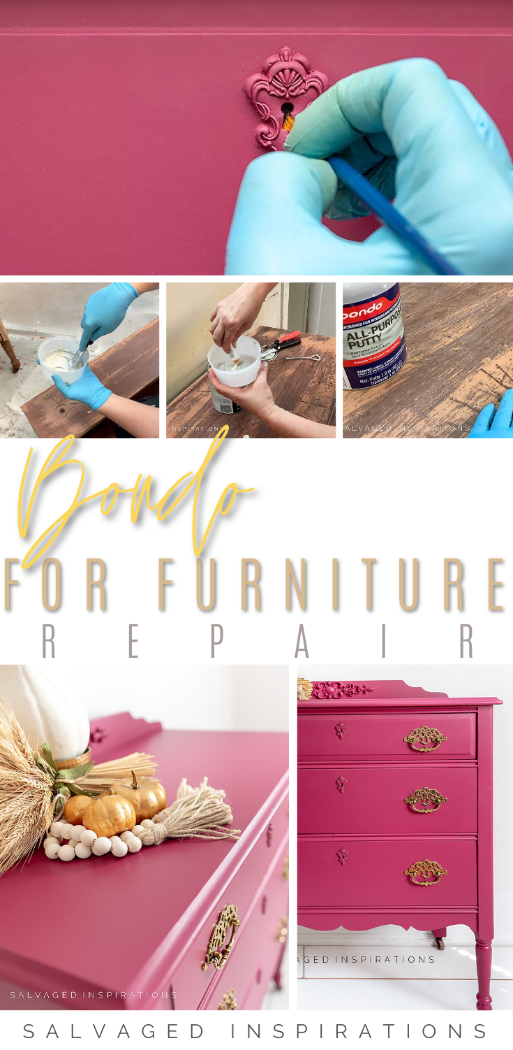 BONDO For Furniture Repairs | The Perfect Vintage Dresser Makeover | Salvaged Inspirations #siblog #salvagedinspirations #paintedfurniture #furniturepainting #DIYfurniture #furniturepaintingtutorials #howto #furnitureartist #furnitureflip #salvagedfurniture #furnituremakeover #beforeandafterfurnuture #paintedvintagefurniture #roadsiderescues