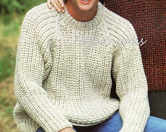 Mens ribbed sweater Knitting Pattern PDF Boys Jumper fishermans ...