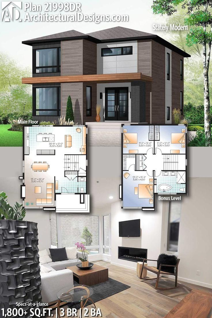 #21998DR  #adhouseplans  #architecturaldesigns  #houseplans  #architecture  #newhome  #newconstruction  #newhouse  #homedesign  #homeplans  #architecture  #home  #modern   #Designs #Modern Architectural Designs Modern Home Plan 21998DR with 3 Bedrooms 2 full baths in 1,800+ Sq Ft. Ready when you are! Where do YOU want to build?