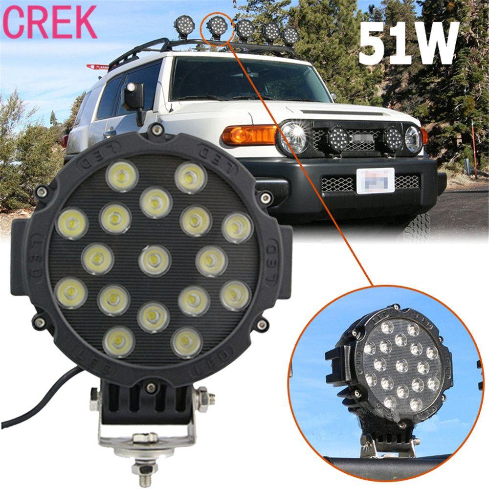Crek 51w Led Work Light Bulbs Spot Flood Combo Beam For Driving Fog Hid Wiring Loom Harness 12v Lights