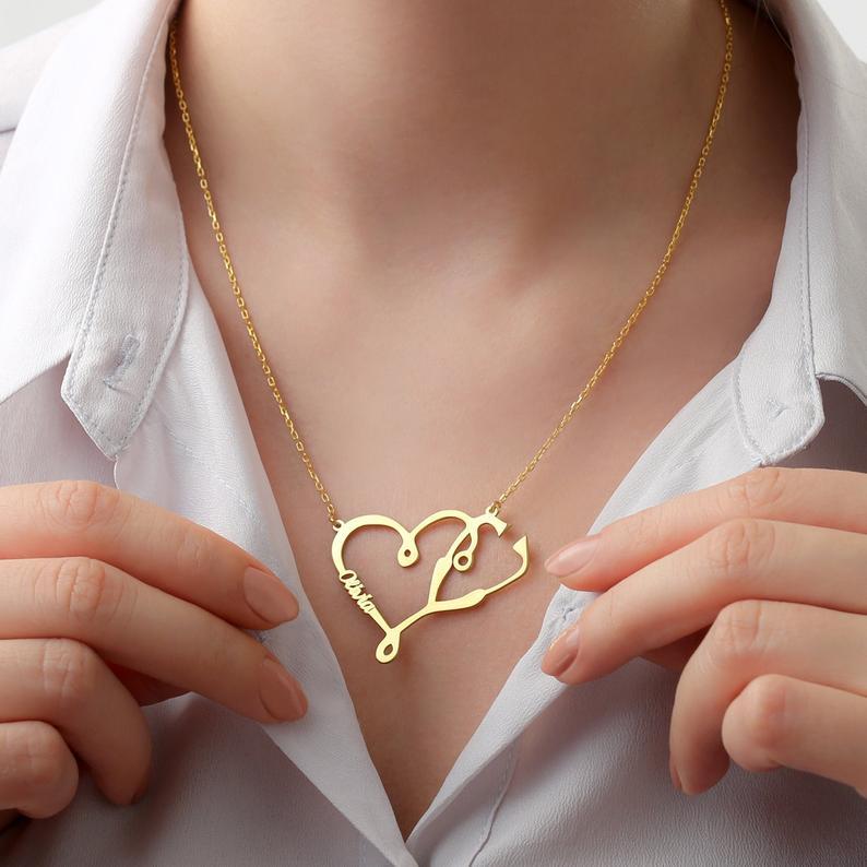 Custom Stethoscope Necklace Custom Gift For Doctors Gift For Healthcare Workers Medical Student Gift Nurse Gift Doctor Gift 14k Gold Filled Jewelry Necklace Stethoscope Necklaces