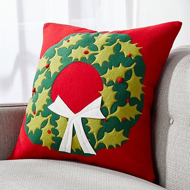 Holly Wreath Pillow With Down Alternative Insert Holly Wreath Christmas Pillow Pillows