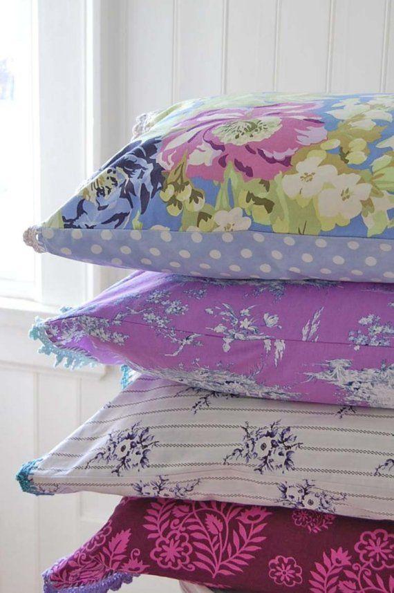 Etsy Transaction - pillowcase with crochet trim - Periwinkle Bouquet