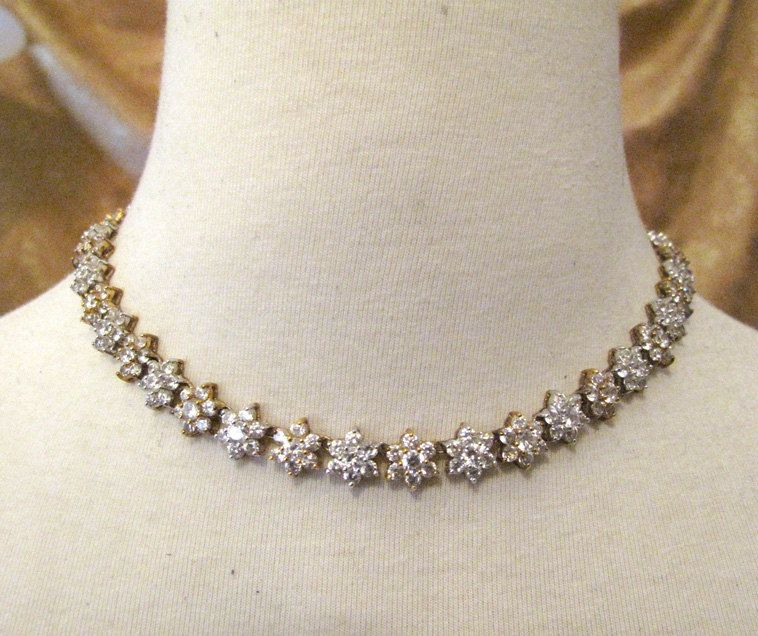 Vintage 1960s Floral Crystal Diamond Landau Necklace Costume