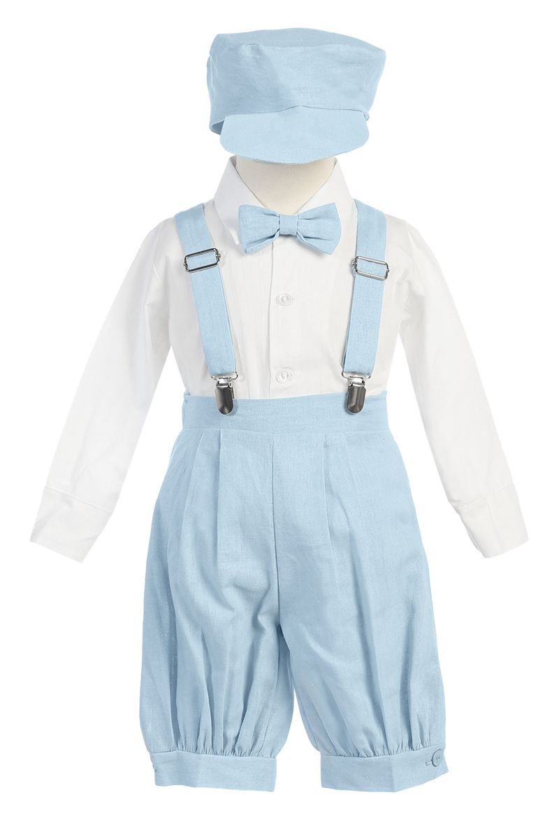 b12509b2e5930 Light Blue Linen Blend Knickers Outfit with Pleated Knickers, Removable &  Adjustable Suspenders, Long Sleeve White Dress Shirt, Clip on Bow Tie &  Matching ...