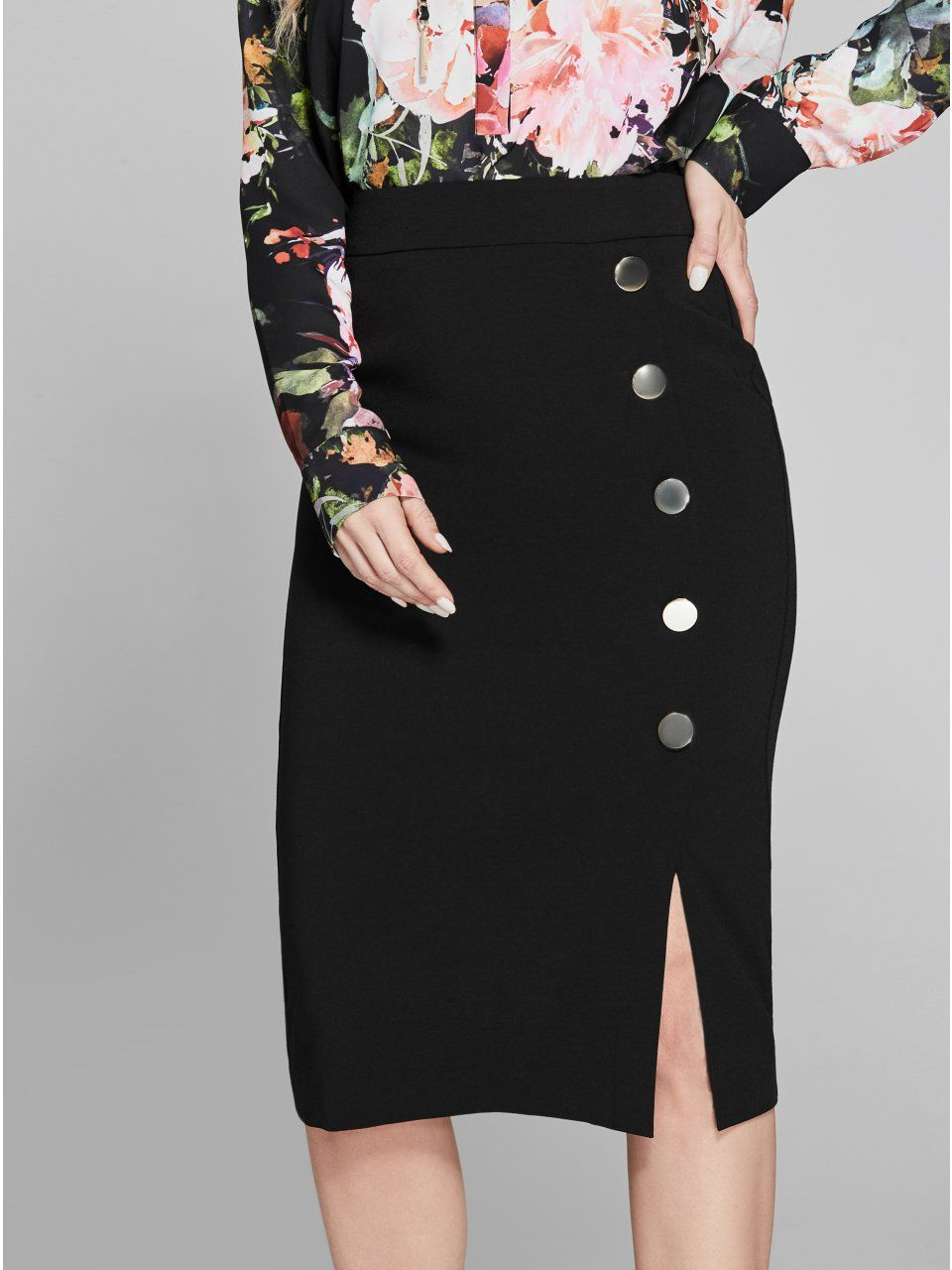 cf7f210c9e9dfc Jane Button Pencil Skirt in 2019 | Products | Pencil skirt outfits ...