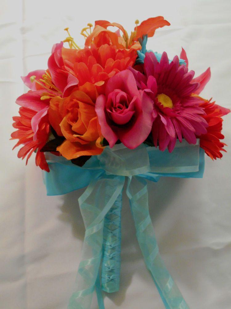 23 pcs Wedding Bridal Bouquet Package Silk Flower Decoration PINK ORANGE AQUA #KarensBouquets